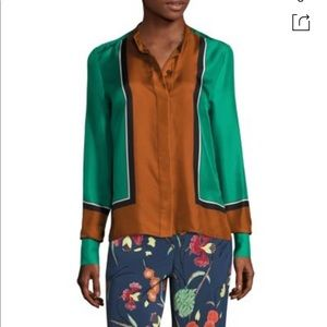 DIANE VON FURSTENBERG Colorblock Silk Satin Shirt